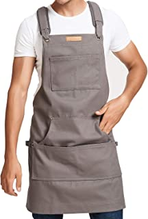 Work and Workshop Tool Apron Men & Women, Heavy Duty Thick Water Resistant Canvas with Pockets & Cross-Back Straps & Hammer Loops Adjustable Black Up to XXL Long