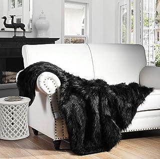 HORIMOTE HOME Luxury Plush Faux Fur Throw Blanket, Long Pile Black Throw Blanket, Super..