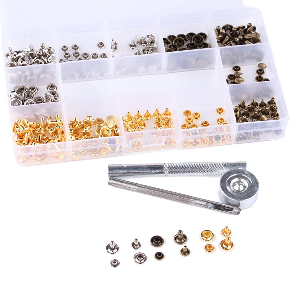 180 Set Leather Rivets Double Cap Sturdy Metal Studs Rivets snap Punk Clothing Button with 3 Fixing Tool Kit for DIY Leather Craft Rivets Repairs Decoration, 3 Colors (Gold, Silver and Bronze)