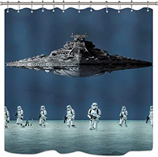 LIGHTINHOME Kids Shower Curtain For Star Wars Battleship Movie Polyester Waterproof Fabric Mildew Resistance Functional Shower Panel Eco-Friendly 72 x 72 Inches 12-Pack PlasticShowerHooks Included