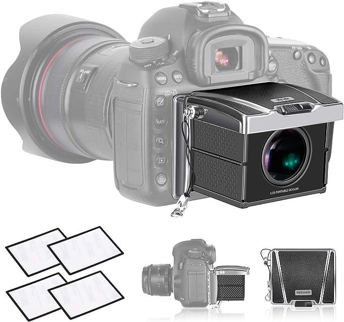 Neewer Visor Cámara Universal Ampliación 3X para Sony A7II/RX100/A9/RX1 Canon 6D Mark II/7D Mark II/77D/800/D1DX/1DXII/5DIII Nikon D5/D850/D7200 y Otras Cámaras DSLR