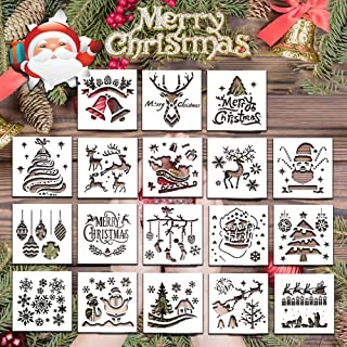 Christmas Stencils for Painting, 18 Pack Plastic Painting Stencils, Reusable Santa Claus, Snowman, Deer, Christmas Tree Templates DIY Card, Craft Art Drawing Painting Spraying, Window