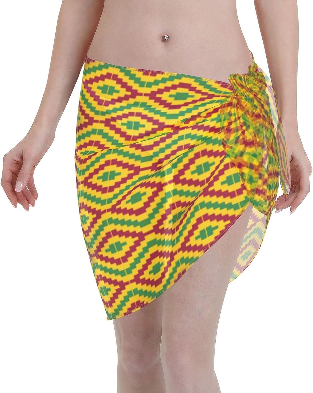 Kente African Women Short Sarongs Beach Wrap Sheer Bikini Wraps Chiffon Cover Ups for Swimwear Sexy Wrap Around Dress Black