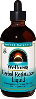 Source Naturals Wellness Herbal Resistance Liquid - Immune System Support with Echinacea, Coptis & Yin Chiao - 8 Fluid oz