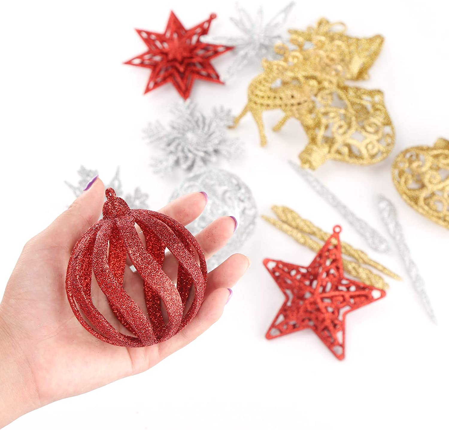 Aitsite 16 Pieces 3D Glitter Snowflake Ornaments 4 Inch Snowflake Plastic Hanging Crafts Snowflake Decoration for Christmas Wedding Party /& Home Decorations Gold
