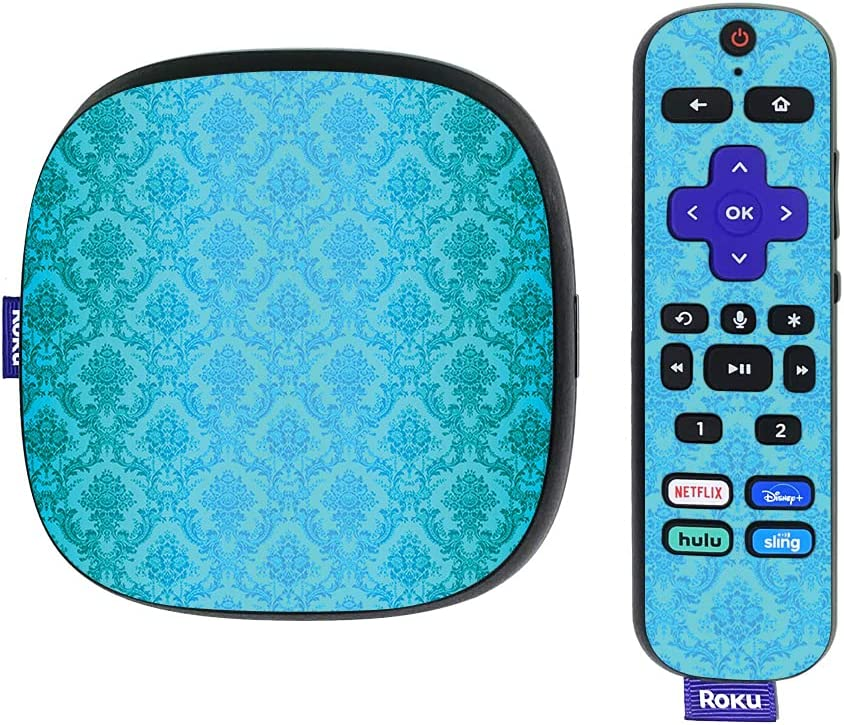 MightySkins Skin Compatible with Roku Ultra HDR 4K Streaming Media Player (2020) - Blue Vintage   Protective, Durable, and Unique Vinyl Decal wrap Cover   Easy to Apply   Made in The USA