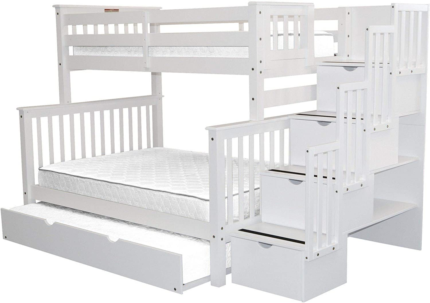 Bedz King Stairway Bunk Beds Twin Over Full With 4 Drawers In The Steps And A Twin Trundle White Furniture Home Tenerife Direct Com