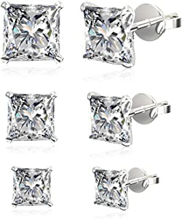 Set of 3 Pairs .925 Sterling Silver Cubic Zirconia Stud Earrings, Princess or Round Brilliant: 4mm + 5mm + 6mm