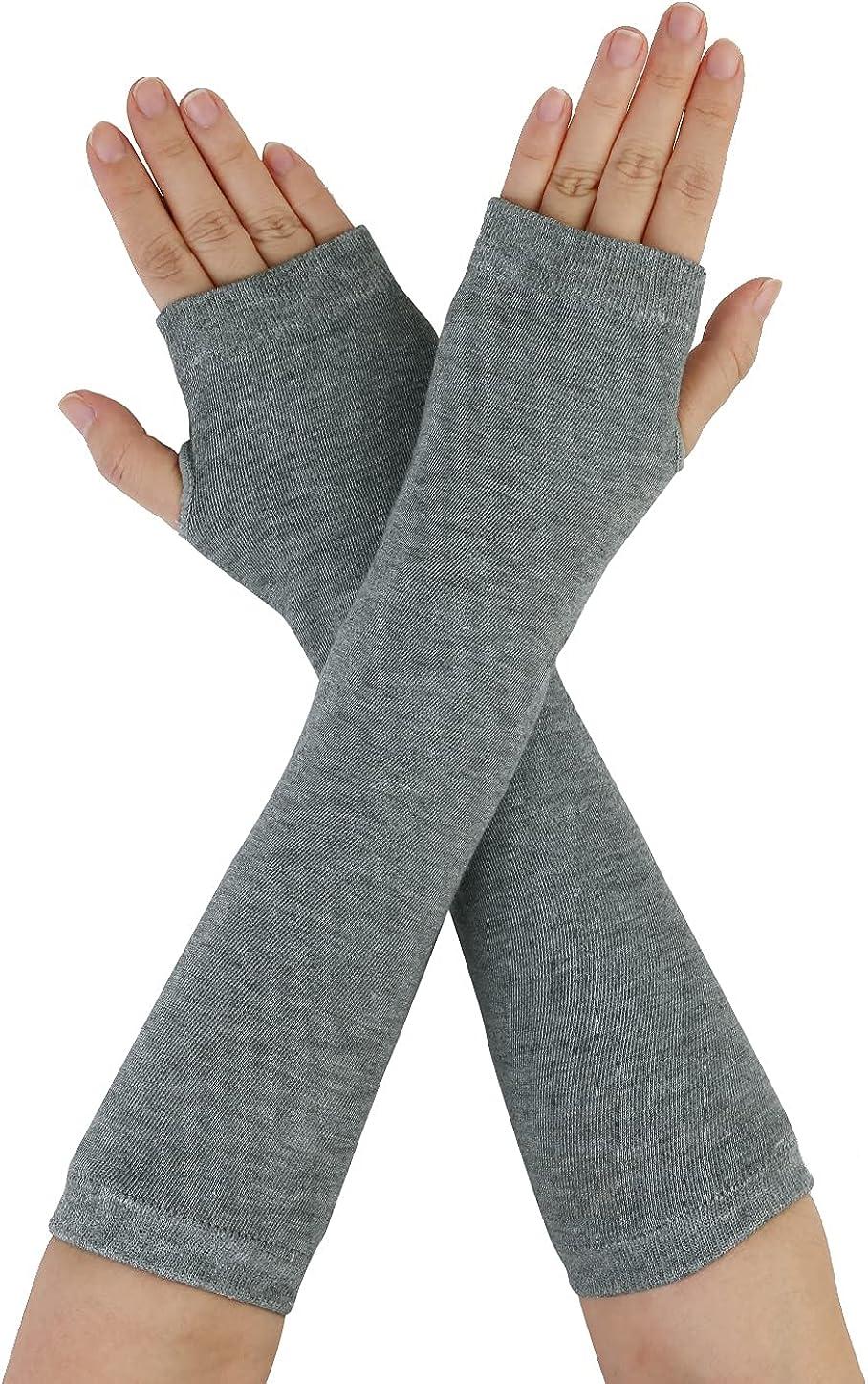 Allegra K Women Elastic Thumbless Fingerless Arm Warmers Gloves Gray