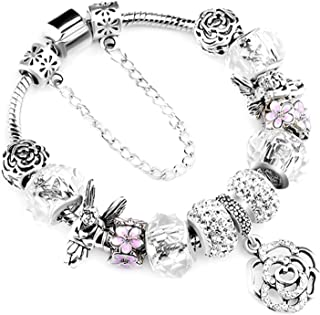 925 Silver Bangle for Women Crystal Flower Beads Fit Bracelets Jewelry