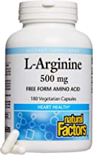 Natural Factors, L-Arginine 500 mg, Supports a Healthy Cardiovascular System, Heart and Muscle Metabolism, 180 capsules (1...