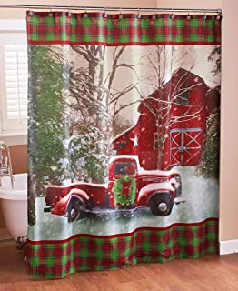 The Lakeside Collection Christmas Shower Curtain with Vintage Red Truck, Barn and Holiday Trees