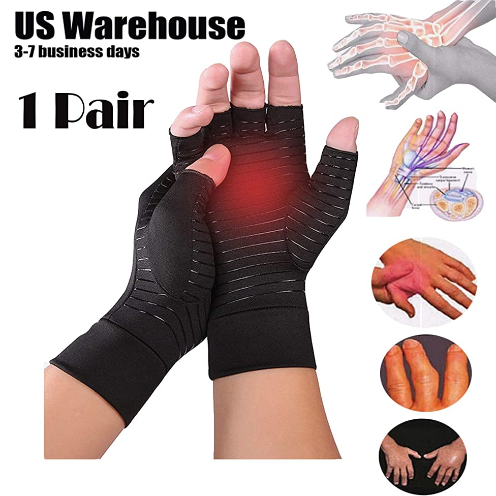 Copper Compression Arthritis Gloves Rheumatoid Hands Joints Support Sleeves by Superjune (L)