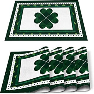Luck Irish Holiday St. Patrick Day Placemats 6 PCS Washable Placemat for Dining Table Decorations, Heat-Resistant Table Ma...