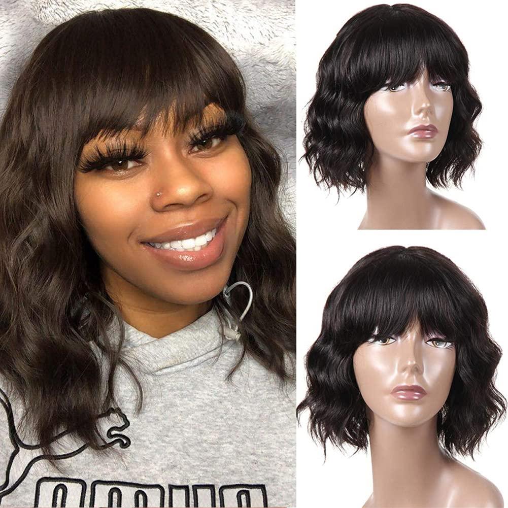 Bestsojoy Short Wavy OFFicial shop Financial sales sale Human Hair Wigs 12A for Brazili Women Black
