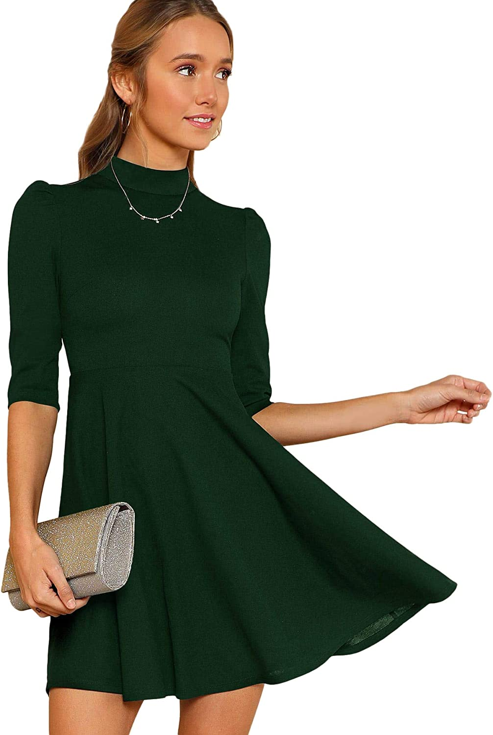 Floerns Women's Mock Neck Fit and Flare Work Cocktail Dress