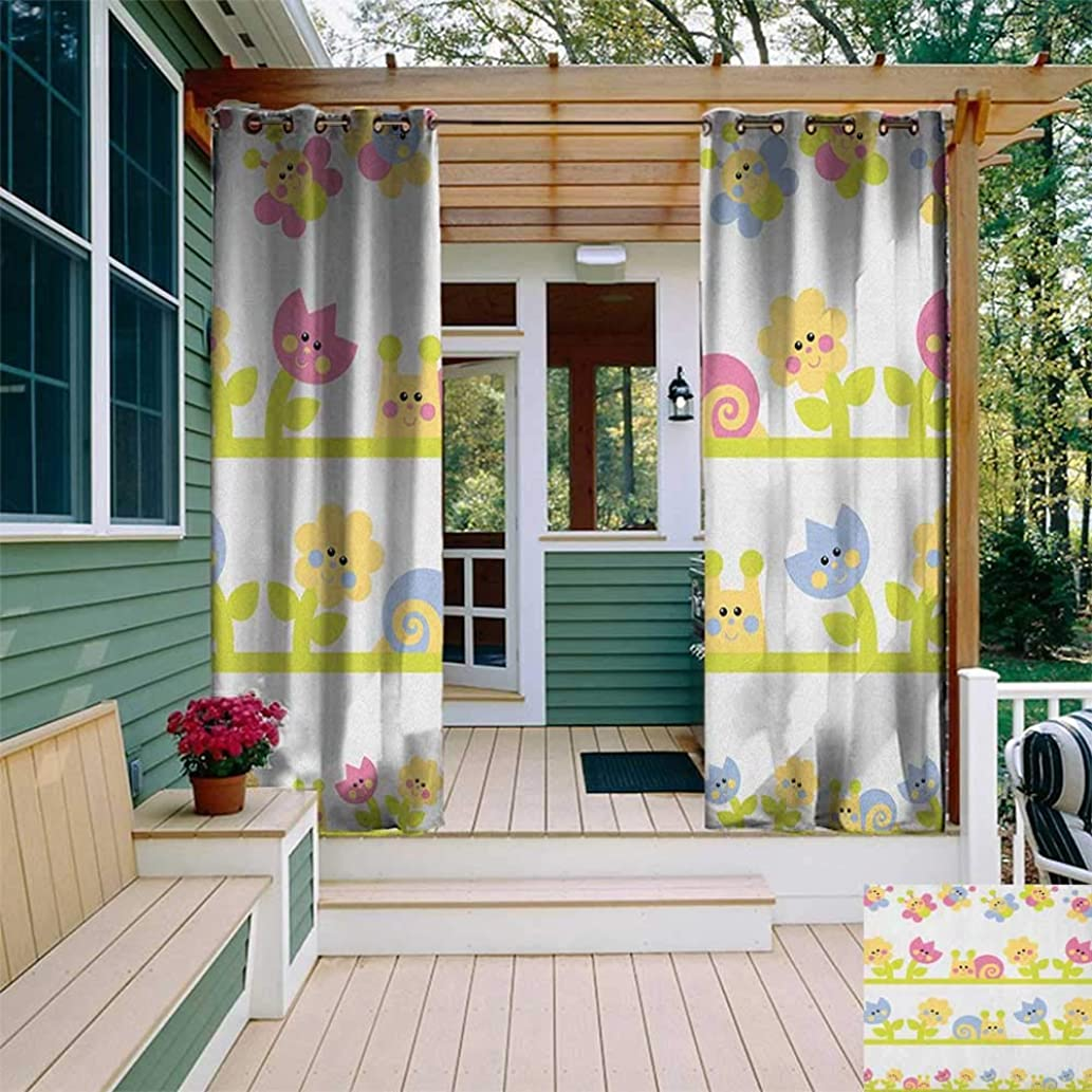leinuoyi Kids, Outdoor Curtain Ends, Cartoon Character Bees Tulip and Daisy Flowers Snails Garden Pattern, for Patio Furniture W96 x L108 Inch Baby Blue Pale Green Yellow