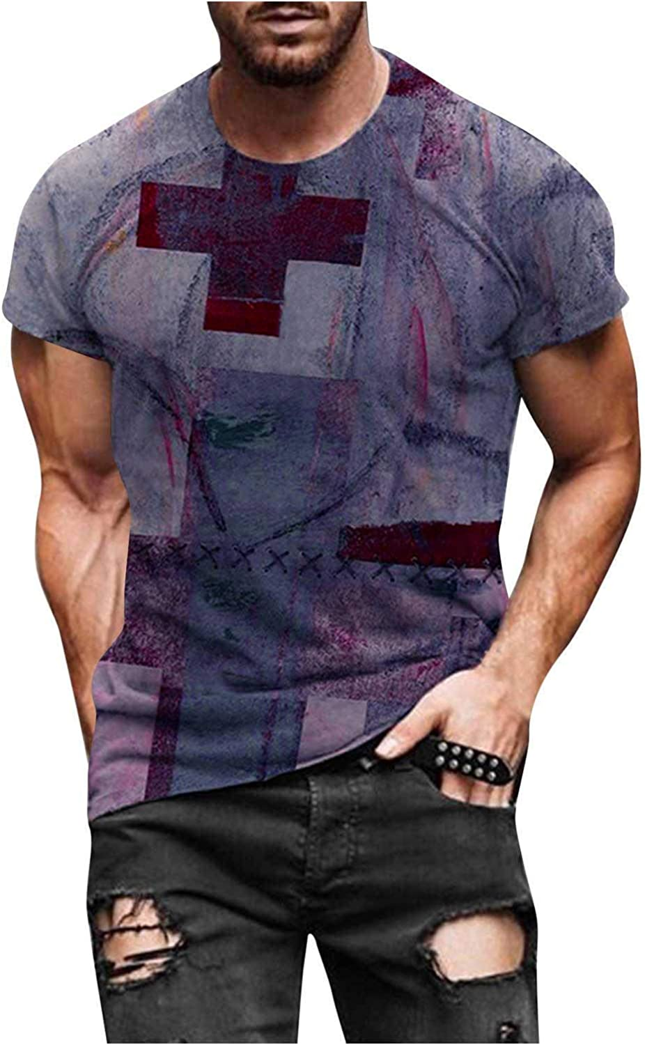Aayomet Men's T Shirts Fashion Graphic Short Sleeve Sleeve Round Neck T-Shirt Casual Sport Workout Athletic Tee Shirts Tops