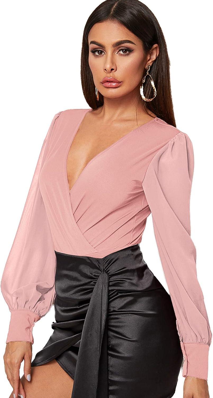 SOLY HUX Women's V Neck Surplice Front Lantern Long Sleeve Bodysuit
