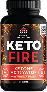 Ancient Nutrition KetoFIRE Capsules, Keto Supplement with BHB Salts as Exogenous Ketones, Electrolytes and Caffeine, Keto Diet, Ketosis Booster, 180 Count