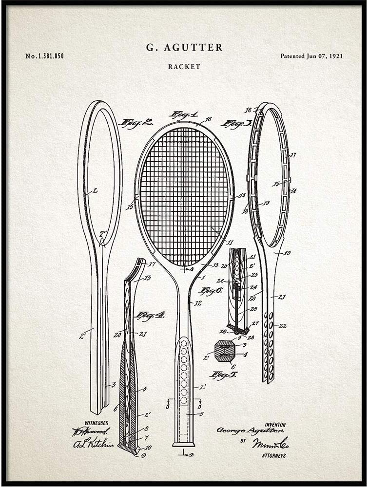 Amazon Com Vintage 1921 Racket Patent Drawing Retro Art Print Poster Wall Home Decor Tennis Gift Idea Qp309 Posters Prints