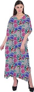 RADANYA Women's Essentials Tribal Floral Print Long Kaftan 3/4 Sleeve Cotton Caftan for Women