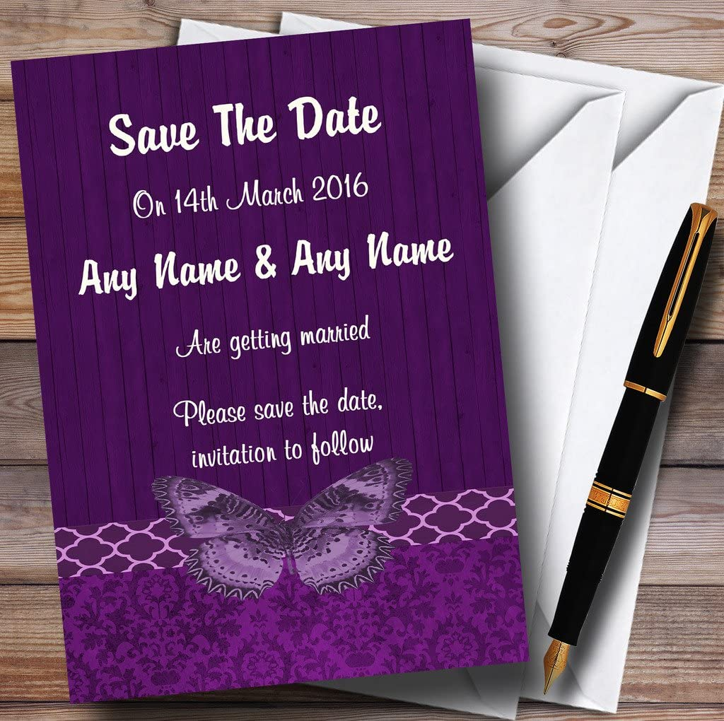 Rustic Vintage Wood Butterfly Purple ギフト Personalized T Save 激安通販 Wedding