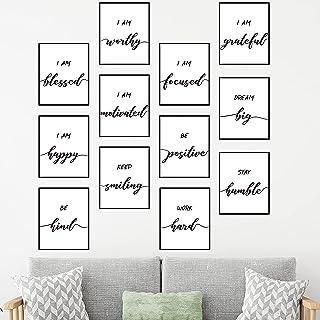 12 Pieces Inspirational Wall Art, Motivational Wall Art, Inspirational Quote Wall Art Posters for Office, Living Room, Bed...