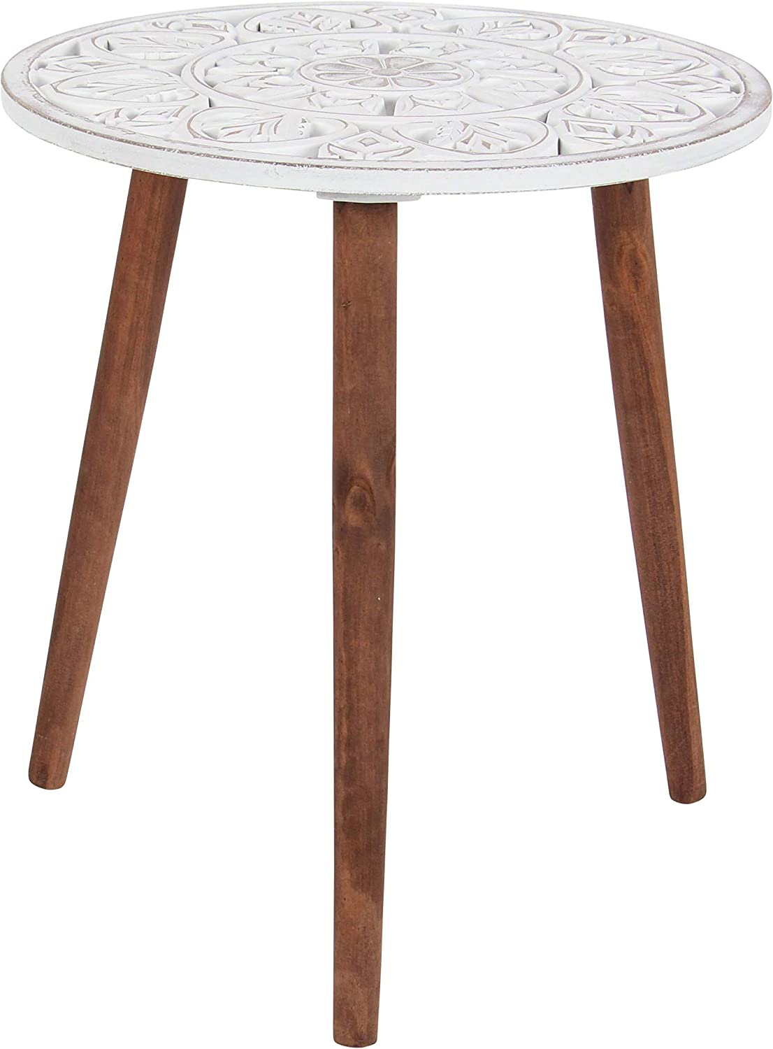 Deco 79 98777 Carved Mandala Design Wooden Accent Table, White Brown