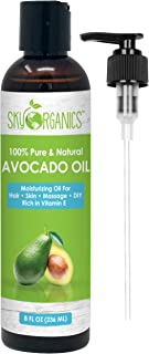 Sky Organics Avocado Oil 236 ML- 100% Pure, Natural & Cold-Pressed Avocado Oil - Ideal For Massage, Cooking And Aromatherapy- Rich In Vitamin E And Oleic Acid