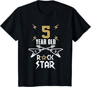 Kids 5 Year Old Rockstar T-Shirt - Boys Girls Birthday Guitar Tee