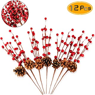 BeautyMood 12 pcs Simulation Berry Branch Red Bubble Berry and Pine Cone Set Christmas Decoration Flower Arrangement - 16 Inch.