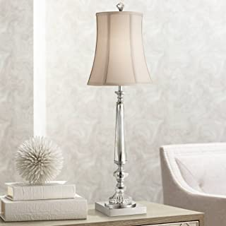 Belardo Traditional Console Table Lamp Clear Crystal Taupe Bell Shade for Living Room Family Bedroom Bedside - Vienna Full Spectrum