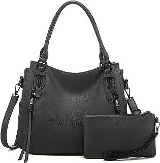 Realer Damen Handtaschen Mittel Shopper Lederhandtasche Schultertasche Umhängetasche Geldbörse Hobo Damen Taschen Set 2pcs...