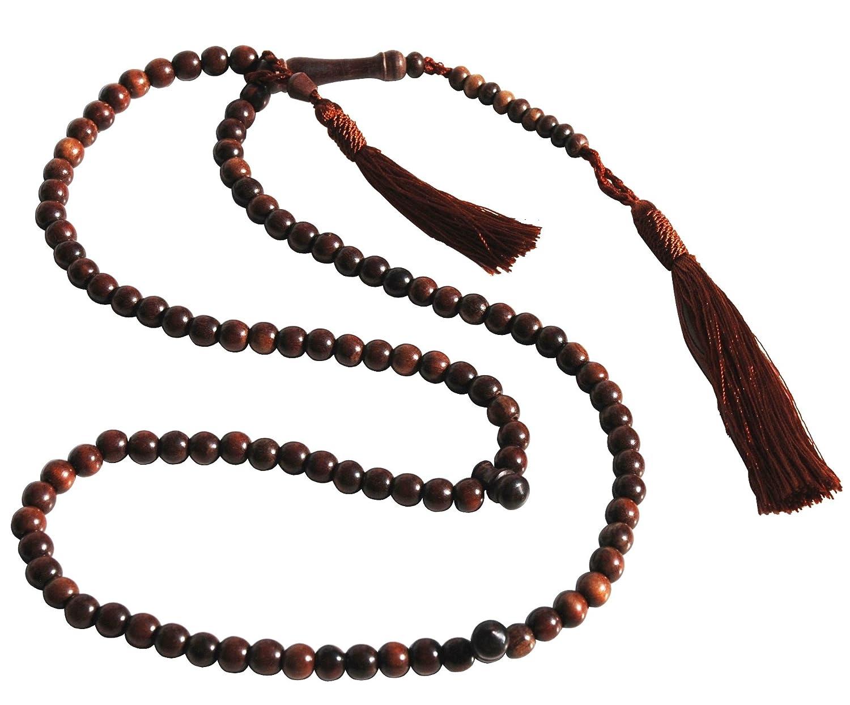 Unique Small Exotic Iron Wood Prayer Beads Tasbih Muslim Rosary- 6mm Beads w/ Beautiful Matching Tassels