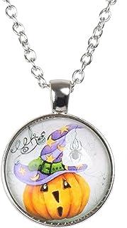 Yunison Halloween Evil Pumpkin Time Gem Pendant Cabochon Necklaces Gift