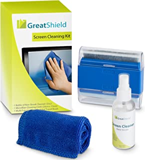 GreatShield Universal Screen Cleaning Kit, Microfiber Cloth + 2 Sided Brush + Non-Streak Solution Spray [for TV, Laptops, PC Monitors, Smartphones, Tablets, Camera, Keyboard and Other Electronics]