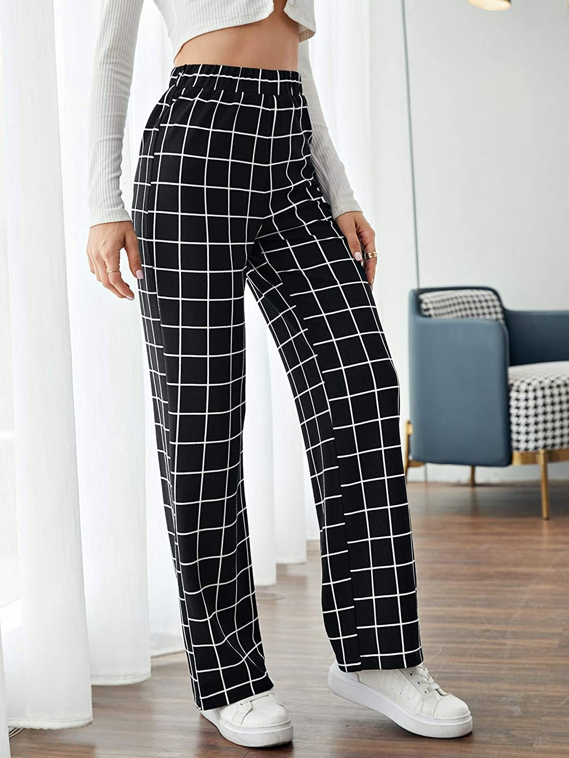 SOLY HUX Women's Plaid Elastic High Waisted Pants Casual Trousers
