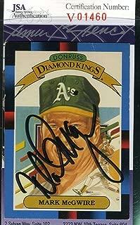 MARK MCGWIRE 1988 DONRUSS JSA Cert Autograph Authentic Hand Signed