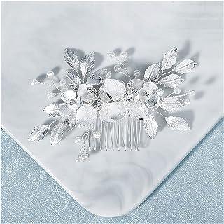 Hair Clip Leaf Flower Hair Comb Clips For Women Prom Bride Wedding Hair Accessories Jewelry Handmade Bridal Headpiece (Met...