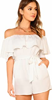 Women's Ruffle Off Shoulder Belted Romper