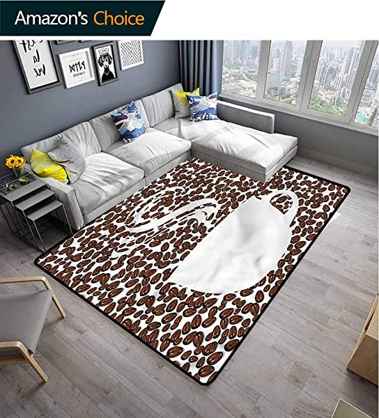 TableCoversHome Coffee Patchwork Runner Rugs Hot Cup On Arabica Beans Pattern Printing Door Mat Durable Rugs Living Dinning Office Rooms Bedrrom Hallway Carpet 5 X 8