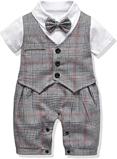 FERENYI Baby Boy's Rompers Baby Boys Short Sleeve Bowtie Gentleman Clothes Boys Plaid Rompers