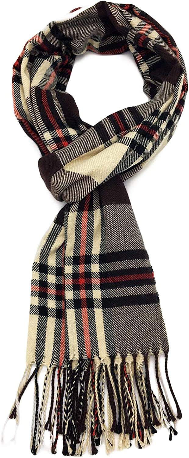 QIFANDI Classic Cashmere Feel Winter Checked Scarf in Rich Plaids