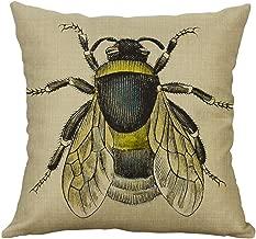 Sunhusing Vintage Little Insect Series Printing Linen Hug Pillowcase Cushion Cover