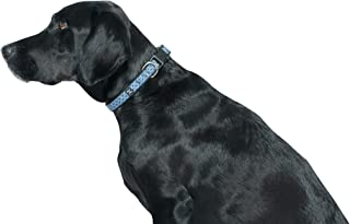 MOG & BONE Neoprene Dog Collar Navy Ikat Print Medium