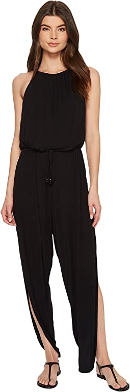 High Neck Drape Jumpsuit Cover-Up