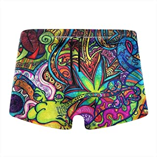 QIDELONG Colorful Marijuana Leaf Weed Cannabis Mens Swimsuit Quick Dry Board Shorts Boxer Brief Tights Swim Trunks