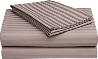 100% Egyptian Cotton 650 Thread Count Full 4-Piece Sheet Set, Deep Pocket, Single Ply, Stripe, Grey
