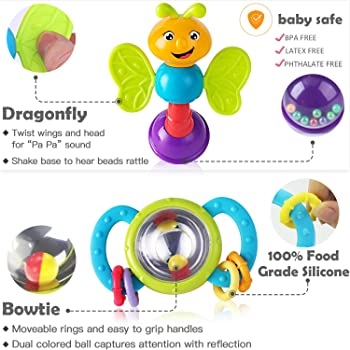 iPlay, iLearn 10pcs Baby Rattles Teether, Shaker, Grab and Spin Rattle, Musical Toy Set, Early Educational Toys for 3...